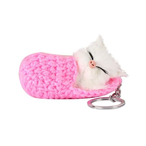 te Schlüsselanhänger Für Kinder Schlüsselbund Niedlichen Temperament Schlaf Kätzchen Hairball Keyring Woolen Hausschuhe Katze Anhänger 5x9cm (Pink) ()