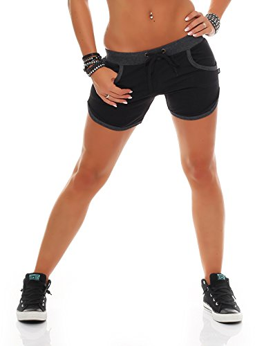 Gennadi Hoppe Damen Hotpants Fitness Shorts Schwarz/Grau