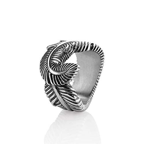 Drachenfels Luxus Unisex Federring im Vintagelook | Kollektion La Luna | Edler Engelsfeder Ring in Echtsilber | Designer-Schmuck aus 925 Sterling Silber | Gr. 58