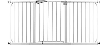 IB Style?Grille d'escalier/Barrière Berrin Pinces   67?175cm extensible grâce à des rallonges   Fermeture automatique   Fonction Stop à 90°   Commande à une main   Ouverture dans les deux sens   Métal Blanc
