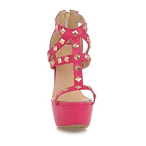 YE Damen Offene Peep Toe High Heel Plateau Stiletto Kristall Leder Party Pumps Sommer Sandalen Mit Nieten Schuhe Rosa
