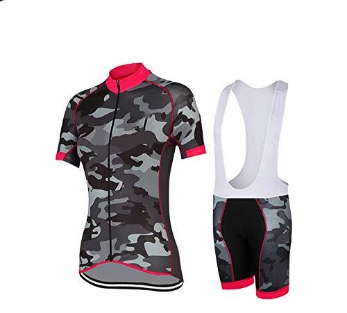 Womens Cycling Bib (Cycling Clothing Women Short Sleeve + Shorts Gel Bib Tights Jersey for Cycling, M)