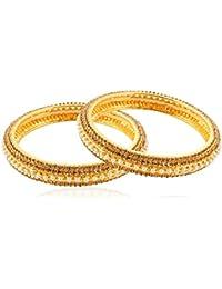 Allure International Gold Metal Bangle Set For Women, Set Of 2 - B078JZ6NRF