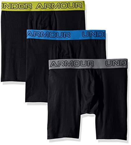Under Armour Herren Boxer Jock, Stretch-Baumwolle, 15,2 cm, 3Stück, Herren, schwarz/schwarz -
