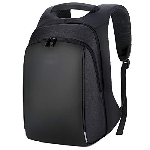Chengduaijoer Outdoor-Reisen Laptop Rucksack Business Laptops Rucksack mit USB-Port und Reflektierende Streifen Wasserdicht College School Computer Tasche (Color : Black, Size : 18 inch)