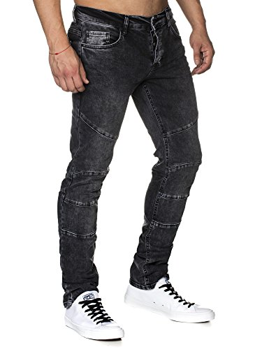 TAZZIO Slim Fit Herren Destroyed Look Stretch Jeans Hose Denim J-1006-schwarz-32/32