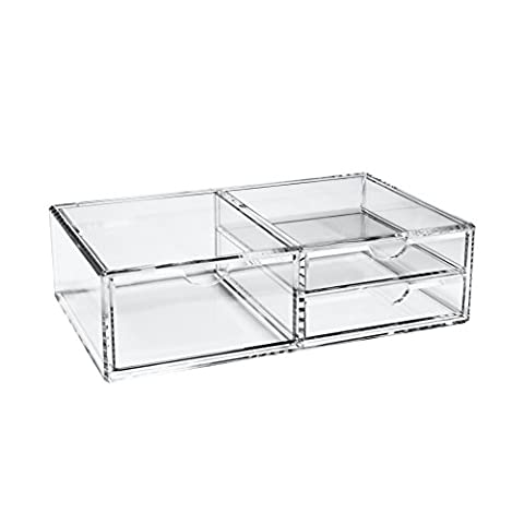 Large Makeup Organizer, Clear Dustproof Acrylic Jewelry Cosmetic Storage With 3 Drawers by Boxalls
