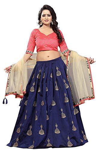 BHAKTI NANDAN CREATION Women\'s Silk Lehenga Choli (Navy Blue_ Free Size)