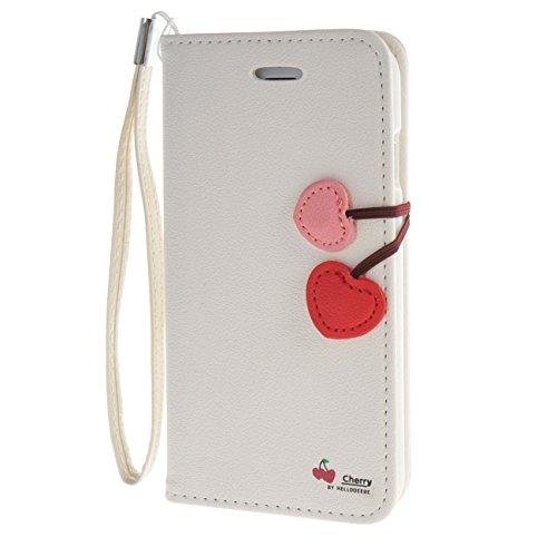 """MOONCASE Étui pour iPhone 6 / 6S (4.7"""") Cherry Magnetic Closure Cuir Housse de Étui à rabat Portefeuille Case Coque en Protection Noir Blanc #1228"""