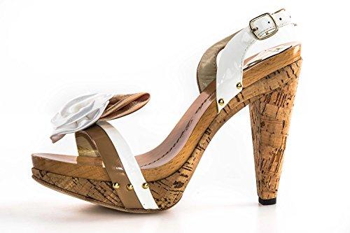 Scarpe donna WHY A. VENTURINI sandalo plateau bianco beige con fiore N40 X2784