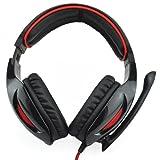 Sade SA-902 7.1 Surround Sound Cobra Gaming Heaset Casque avec micro et t¨¦l¨¦commande pour PC portable (Noir & Rouge)
