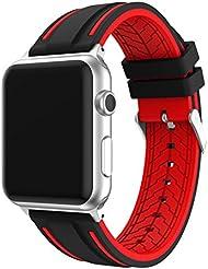 LEEHUR Apple Watch Bracelet, 42mm Apple Watch Band Silicone Souple Sport Band Strap pour Apple Watch - Noir et Rouge