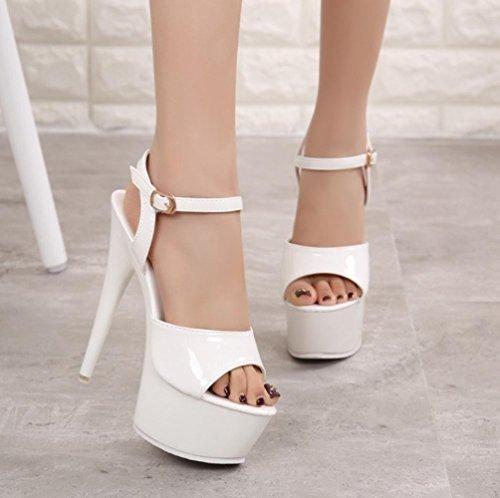 Heart&M Estate solido di colore della pelle verniciata di 15CM alti talloni delle donne in gomma Sole peep-toe Sandal Stiletto White