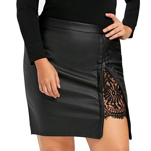 Yanhoo gonna donna donne moda ragazze pelle pizzo uniforme plissettata gonna moda svasata mini vestiti da pattinatrice versatile elastica gonna (m, nero)
