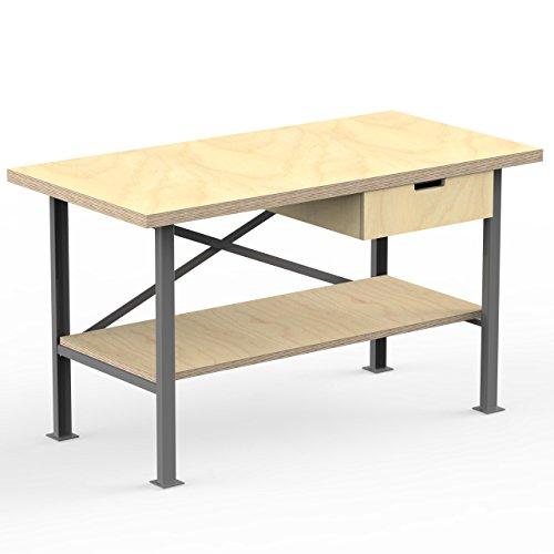 AUPROTEC Profi-Werkbank 1250 x 600 x 850 mm Arbeitsplatte Multiplex 40mm mit 1 Schublade und Ablage Holz Werkbankplatte Massiv Multiplexplatte - Industriequalitäts-Werktisch
