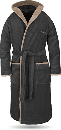 normani® Baumwoll Bademantel mit Kapuze in weicher Premium Qualität mit Öko Tex 100 für Damen und Herren Farbe Schwarz/Beige Größe S
