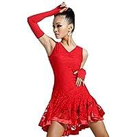 motony Vestito per Ballerina di Danze Latino Americane Dance Practice Senza Maniche, per Adulti, per Abiti da Danza Alte Prestazioni (XS, Rosso)