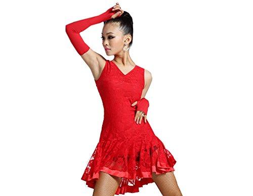 Motony Latin Dance Kleid ärmellos Dance Praxis Kostüm für Erwachsene Performance Kleidung Square Dance Tragen Gr. Medium, Rot