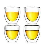 GuDoQi 4 Envases Taza de Café de Vidrio con Doble Pared con Aislamiento Taza de Vidrio Exprés para Beber con Té con Latte con Expresso con Zumo o con Agua con (80 ML)