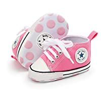 Babycute Infant New Baby Boys Girls Soft Sole Anti-Slip Canvas Sneakers Ankle Booties First Walking Shoes Casual Sport (6-12 Mo, Aa-Pink)