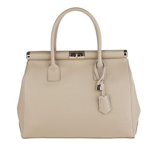 Chicca Borse Handbag Borsa a Mano da Donna con Tracolla in Vera Pelle Made in Italy 35x28x16 Cm Nocciola