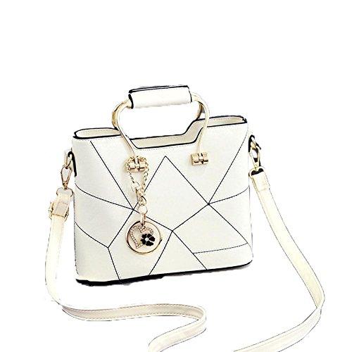 HQYSS Damen-handtaschen JQAM süße Dame PU-lederner Schulter-Kurier-Handtaschen-Querschnitt geprägte Einkaufstasche white