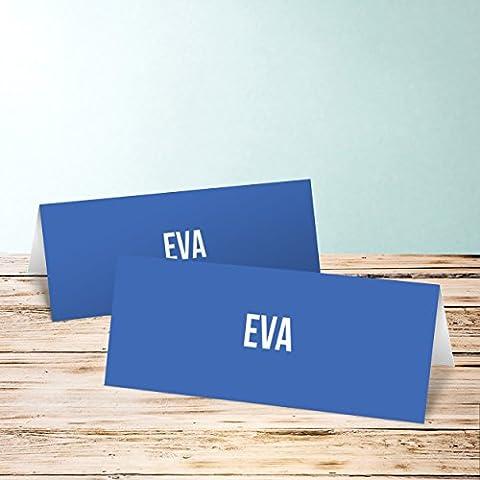 Tischkarten für Geburtstag, Vierzich 55 Karten, Horizontale Klappkarte 100x38, Blau