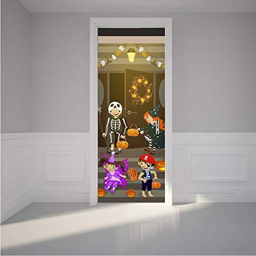 zpbzambm Halloween Party Tür Aufkleber PVC wasserdichte Wand Poster Für Wohnzimmer Schlafzimmer Wandkunst Wohnkultur Wandaufkleber 77X200 cm (Party Klassenzimmer Halloween-ideen)