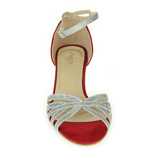 Frau Damen Sparkly Riemen Offener Zeh Zwei teil Kitten-Heel Abend Hochzeit Party Braut Sandalen Schuhe Größe Silber