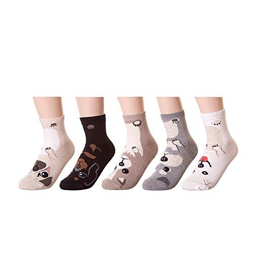 LHZY Womens Mädchen Socken 5 Pack, lustige niedlichen Hunde Cartoon süßes Design, Baumwollmischung Crew Over Knöchel