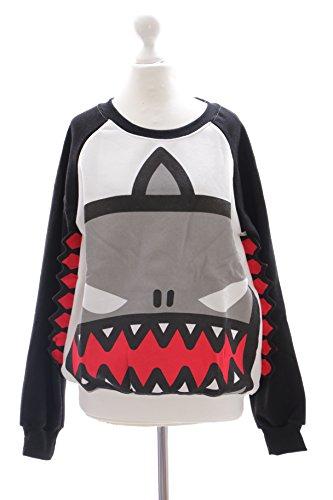 Crazy Shark (TS-15 Gr. L Shark Crazy Monster Hai Zähnen Pullover Sweatshirt Harajuku)