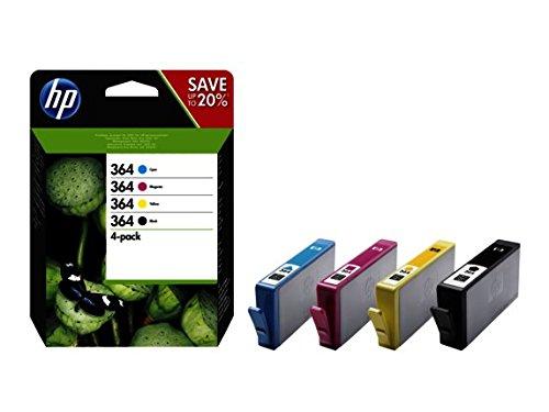 HP 364 4-pack Black/Cyan/Magenta/Yellow Original Ink Cartridges cartucho de tinta Negro, Cian, Magenta, Amarillo Multipack - Cartucho de tinta para impresoras (Original, Negro, Cian, Magenta, Amarillo, Tinta a base de pigmentos, HP, Deskjet 3070A e-AiO, Impresión por inyección de tinta)
