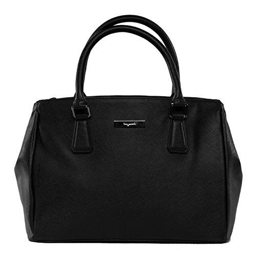 tragwert. Bolso de mano shopper bag STELLA en negro - Bolso de mujer bandolera bolso de hombro en cuero vegano