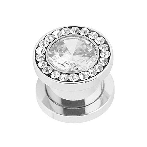 Piercingfaktor Flesh Tunnel Ohr Piercing Plug Ohrpiercing Schraub Edelstahl Multi Zirkonia Kristall 6mm Clear Clear