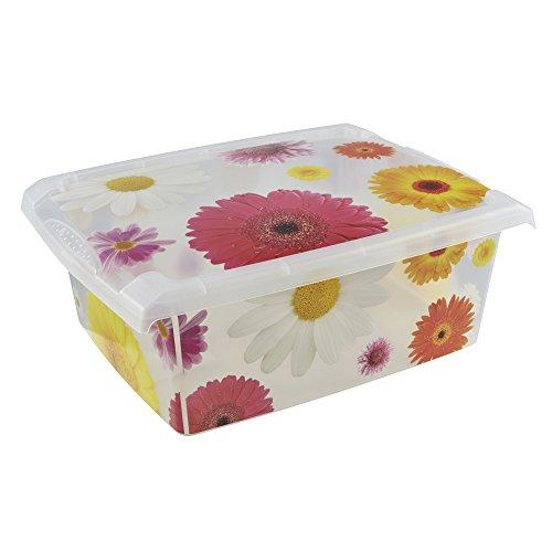 keeeper Aufbewahrungsbox mit Deckel, Blumendekor, 10 l, Agneta Pink Flowers, Transparent