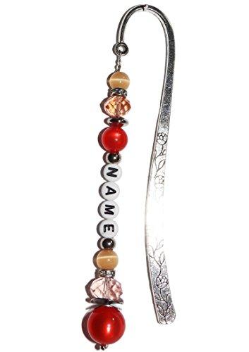 ARTemlos® Handmade Lesezeichen (N08) mit Name; aus Metall, Edelstahl und Perlen in koralle (Schmuck, Der Aus Korallen)