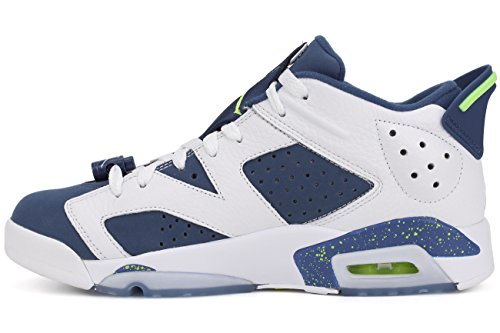 Nike Air Jordan 6 Retro Low, Chaussures de Sport-Basketball Homme, Noir Multicolore - Blanco / Verde / Azul (White / Ghost Green-Insgn Blue)