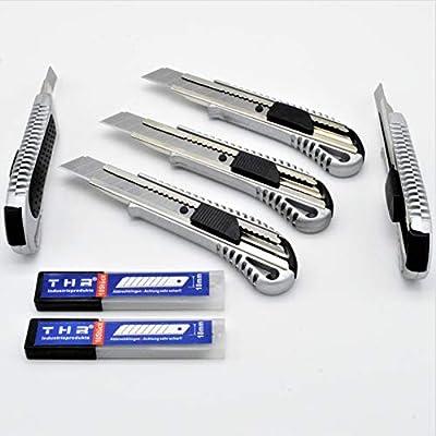 5 Stück Alu Profi Cuttermesser THR Druckguss Teppichmesser 18mm Abbrechklinge Mehrzweck Messer + 20 Klingen von THR Industrieprodukte® auf TapetenShop