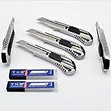 5 Stück Alu Profi Cuttermesser THR Druckguss Teppichmesser 18mm Abbrechklinge Mehrzweck Messer + 20 Klingen