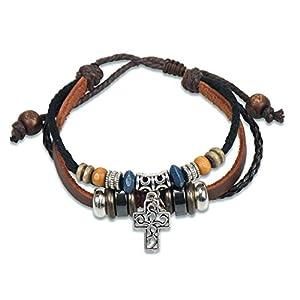 Christliche Geschenkideen Lederarmband mit Kreuz und Perlen Silber braun schwarz
