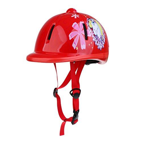 Baoblaze Kinder Reithelm verstellbar Pferdesport Kinder Helm - Schnee Rot