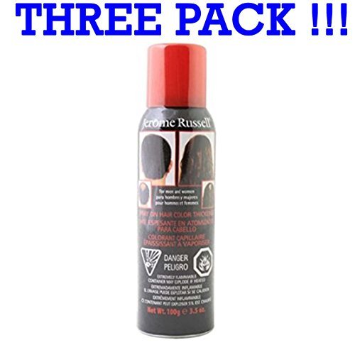 THREE PACK Jerome Russell Spray On Hair Colour Aerosol 3x100g Medium Brown