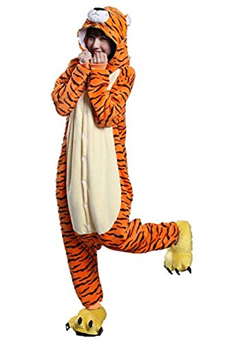 Erwachsenen Halloween Tiger Kostüme (Missley Einhorn Pyjamas Kostüm Overall Tier Nachtwäsche Erwachsene Unisex Cosplay (L, Jumping)