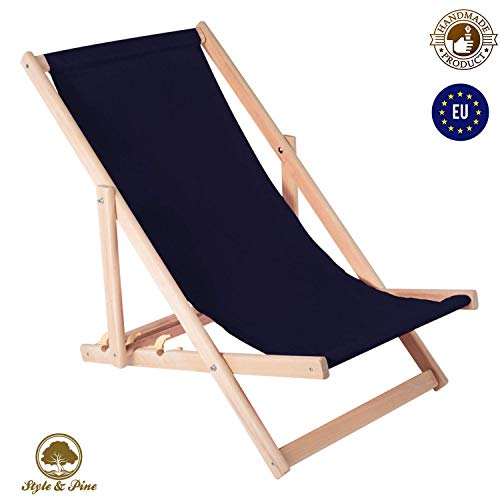 Amazinggirl Liegestuhl klappbaraus Holz Liege - Relaxliege für Garten Balkon Gartenliege Strandstuhl Liegen Gartenmöbel (1 Stück, Schwarz)