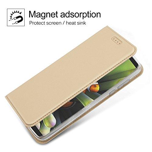 iphone X Hülle, KuGi Apple iphone X Flip Bookstyle Kompletter Schutz Mit Magnetverschluss und Standfunktion Tasche Etui Cover Case Schutzhülle für Apple iphone X Smartphone (Rose Gold) Gold