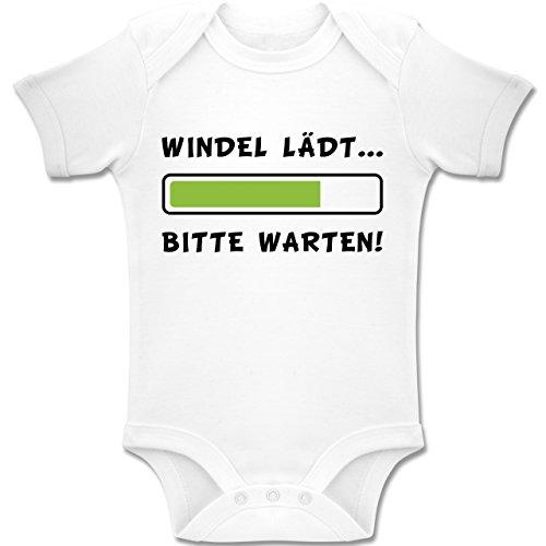 (Shirtracer Sprüche Baby - Windel Lädt - 1-3 Monate - Weiß - BZ10 - Baby Body Kurzarm Jungen Mädchen)