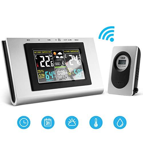 Mture Wetterstation Funk mit Außensensor und LCD Farbdisplay, Funkwetterstation mit Weckfunktion Digital Thermometer-Hygrometer für Innen und Außen, Barometer, Wecker, Mondphasen und Wettervorhersage
