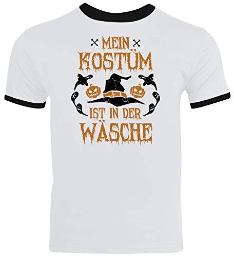 Fasching Karneval Gruppen Herren Männer Ringer Trikot T-Shirt Halloween - Mein Kostüm ist in der Wäsche, Größe: S,White/Black (Olympia Party Kostüm)