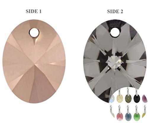6x Crystal Rose Gold 001rogl Xilion Oval Anhänger Glas Kristallen Schwarz Hälfte 6028 SWAROVSKI-Stein Chatons Facettierten Strass 12mm