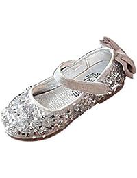 Amur Leopard Zapatos Princesa de Niña Brillante con Lentejuela y Lazo Mercedita Lujo y Elegante